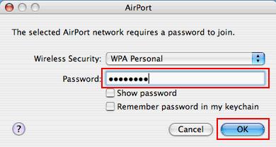 Bezprzewodowy Internet (Mac OS X), potwierdzenie hasła