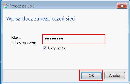 Bezprzewodowy Internet (Windows 7), potwierdzenie hasła