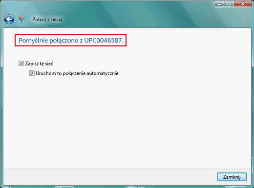 Bezprzewodowy Internet (Windows Vista), zakończenie instalacji