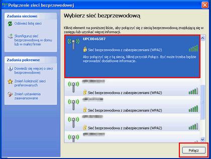 Bezprzewodowy Internet (Windows XP), wybór sieci Wi-Fi