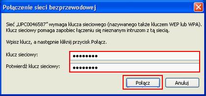 Bezprzewodowy Internet (Windows XP), potwierdzenie hasła
