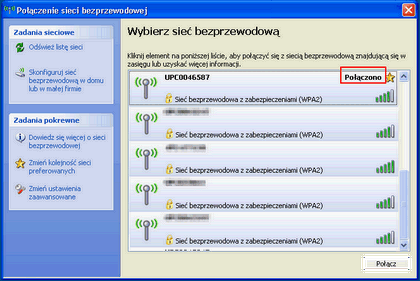 Bezprzewodowy Internet (Windows XP), zakończenie instalacji