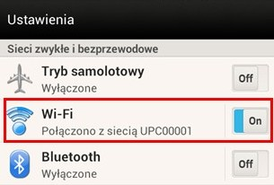 UPC Wi-Free - Android, ustawienia Wi-Fi