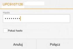 Bezprzewodowy Internet (Android), potwierdzenie nazwy i hasła