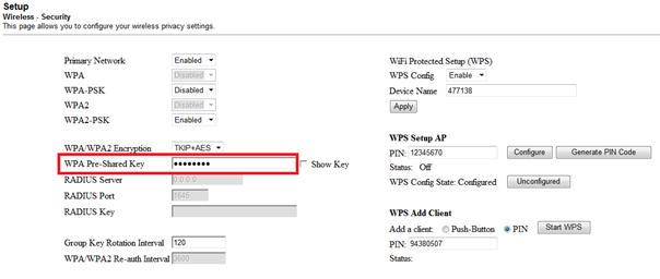 Cisco 2425, zmiana hasła sieci bezprzewodowej