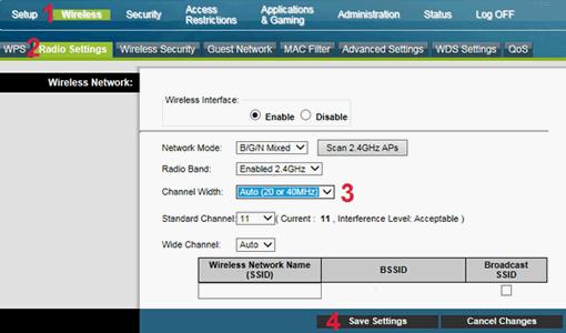 Cisco EPC3925, strona zmiany szerokości kanału wifi