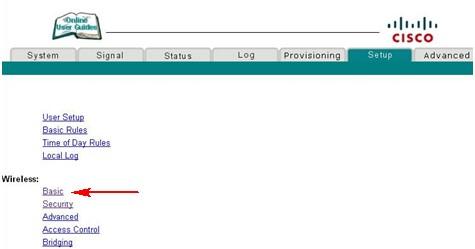 Cisco EPC2425, strona ustawień wifi