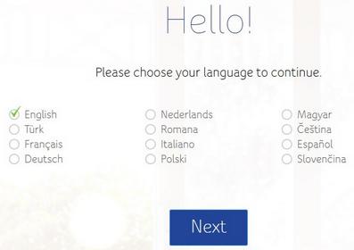 Giga Connect Box, strona wyboru języka