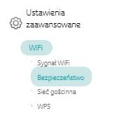 Connect Box, zakładka Bezpieczeństwo w panelu administracyjnym