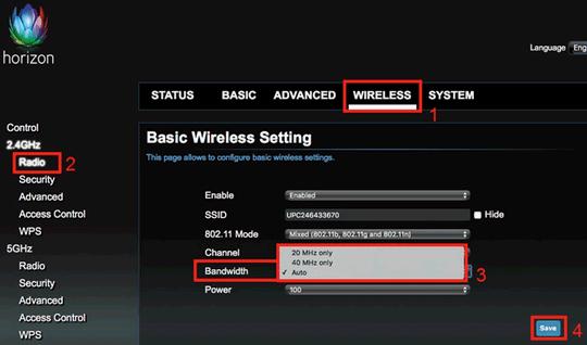 Dekoder Horizon, zmiana szerokości kanału Wi-Fi