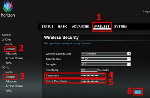 Dekoder Horizon, strona zmiany hasła wifi