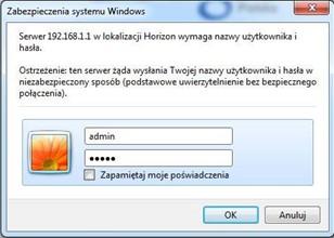 Dekoder Horizon, strona logowania