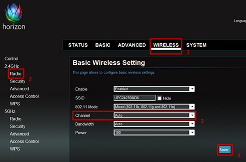 Horizon, changing the Wi-Fi channel