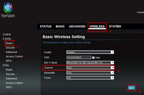 Dekoder Horizon, strona zmiany kanału wifi