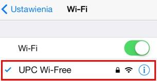 UPC Wi-Free - iOS, potwierdzenie połączenia