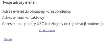 Moje UPC, zmiana adresu e-mail