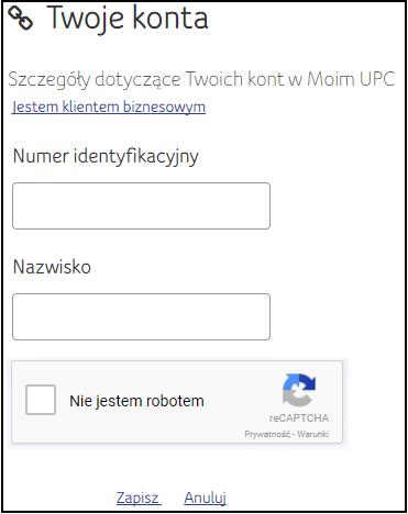 Moje UPC, potwierdzenie danych klienta