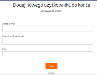 Moje UPC, e-mail nowego użytkownika