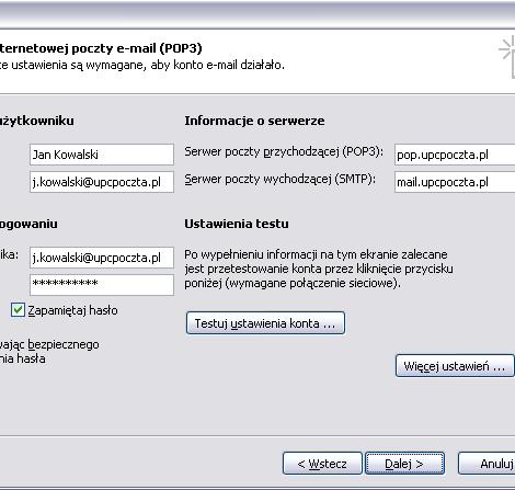 MS Outlook, zakończenie konfiguracji