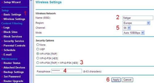 Netgear, strona zmiany kanału wifi