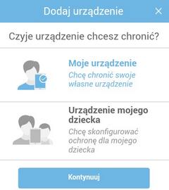 Pakiet Bezpieczeństwa (Android), wybór urządzenia