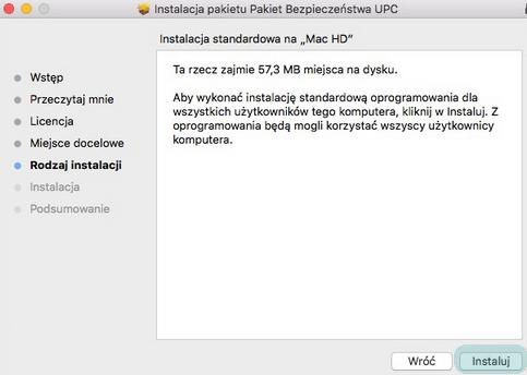 Pakiet Bezpieczeństwa (Mac OS), rozpoczęcie instalacji