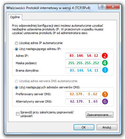 zrzut ekranu okienka Windows - Właściwości: Protokuł internetowy w wersji 4 (TCP/IPv4)