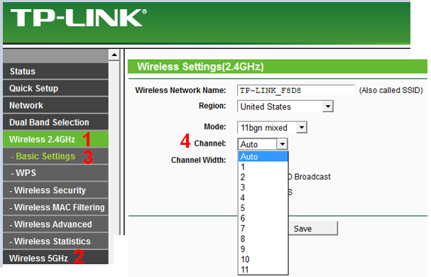 TP Link Archer C2, strona zmiany kanału wifi