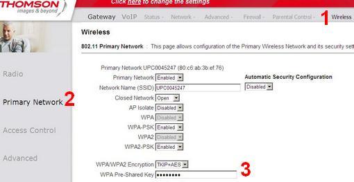 Thomson TWG870U, strona zmiany hasła wifi