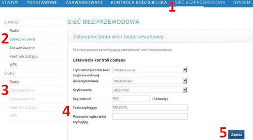 Ubee EVW3226, strona zmiany hasła wifi