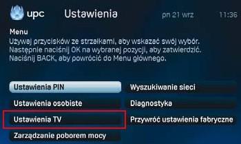 Dekoder Mediabox, ustawienia tv