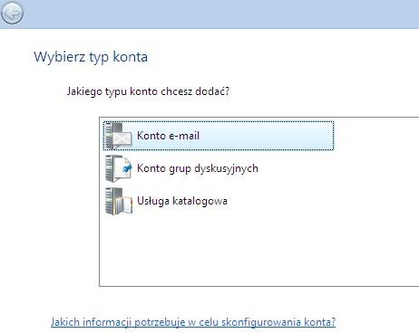 Poczta Windows (Vista), wybór rodzaju konta