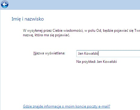 Poczta Windows (Vista), nazwa konta