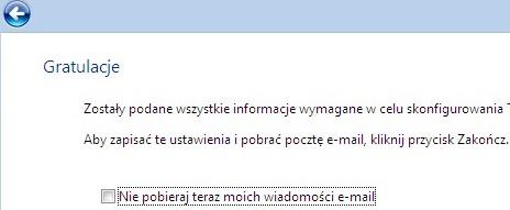 Poczta Windows (Vista), zakończenie konfiguracji