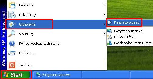 UPC Wi-Free - Windows XP, panel sterowania