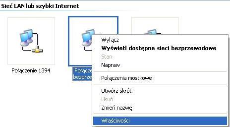 UPC Wi-Free - Windows XP, właściwości połączenia