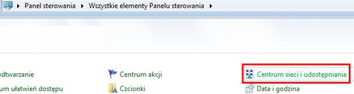 UPC Wi-Free - Windows 7, panel sterowania