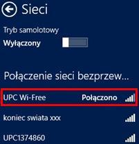 UPC Wi-Free - Windows 8, potwierdzenie połączenia