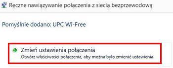 UPC Wi-Free - Windows 8, zmiana ustawień połączenia