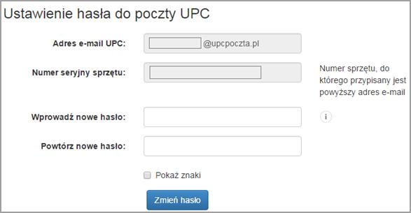 Moje UPC, potwierdzenie nowego hasła do poczty